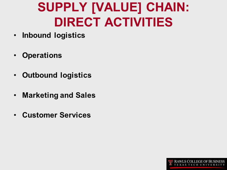 SUPPLY [VALUE] CHAIN: DIRECT ACTIVITIES